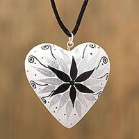 Wood pendant necklace, 'Heart's Star' - Copal Wood Hand Carved White Heart Pendant Necklace