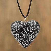 Wood pendant necklace, 'Passionate Heart in Black' - Black Heart Shaped Wood Pendant Necklace from Mexico