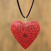 Wood pendant necklace, 'Passionate Heart in Red' - Red Heart Shaped Wood Pendant Necklace from Mexico