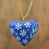 Wood pendant necklace, 'Blissful Heart' - Blue Floral Heart Shaped Wood Pendant Necklace
