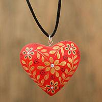 Wood pendant necklace, 'Enchanting Heart' - Red Floral Heart Shaped Wood Pendant Necklace