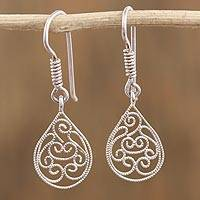Sterling silver filigree dangle earrings, 'Sparkling Drops of Light' - Drop-Shaped Sterling Silver Filigree Earrings from Mexico