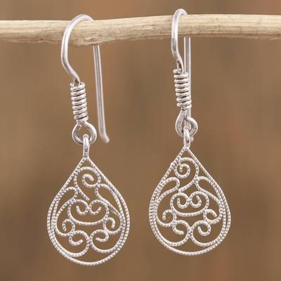 Lightweight Earrings Turquoise Silver Earrings Floral Jewelry Silver Earrings Long Earrings  Flower Earrings Silver Filigree Earrings