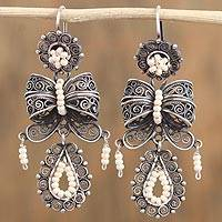 Glass beaded filigree chandelier earrings, 'Fabulous Bows' - Glass Beaded Filigree Chandelier Earrings from Mexico