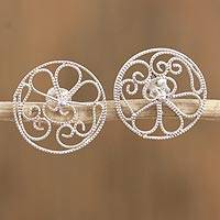 Sterling silver filigree button earrings, 'Elegant Unity' - Sterling Silver Filigree Button Earrings from Mexico