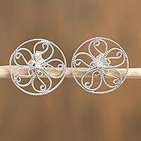 Sterling silver filigree button earrings, 'Garden Circles' - Circular Sterling Silver Button Earrings from Mexico