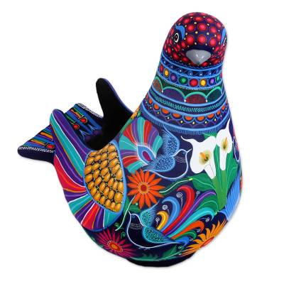 Ceramic sculpture, 'Cherished Dove' - Hand-Painted Floral Ceramic Dove Sculpture from Mexico