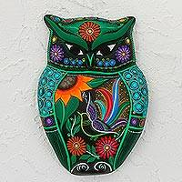 Ceramic wall sculpture, 'Owl of Flowers' - Hand-Painted Floral Ceramic Owl Wall Sculpture from Mexico