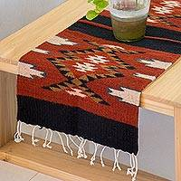 Zapotec wool area rug, 'Teotitlan Tradition' (1x3) - Mexican Loom Woven Diamond Motif 100% Wool Zapotec Rug (1x3)