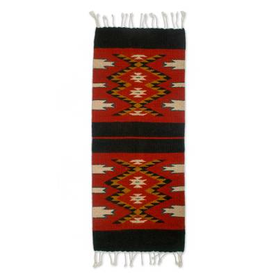 Zapotec wool table runner, 'Teotitlan Tradition' - Mexican Loom Woven Diamond Motif Table Runner