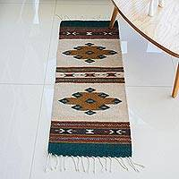 Zapotec wool area rug, 'Colorful Remembrance' (1x3) - Loom Woven Geometric 100% Wool Zapotec Rug from Mexico (1x3)
