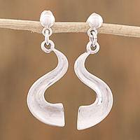 Sterling silver dangle earrings, 'Life's Question' - Curvy Sterling Silver Dangle Earrings from Mexico