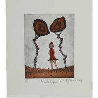 'Innocent Little Red Riding Hood' - Surrealist Ink Print of Little Red Riding Hood from Mexico