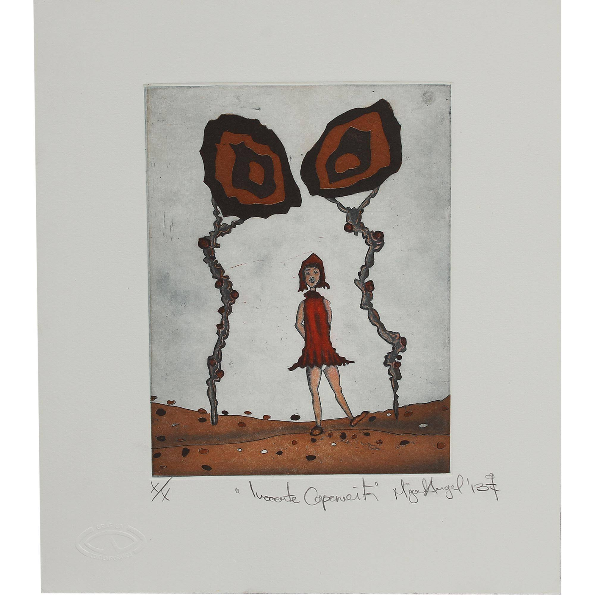 Surrealist Ink Print Of Little Red Riding Hood From Mexico Innocent Little Red Riding