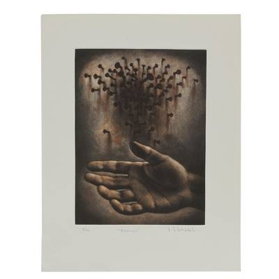 Evocative Surrealist Ink Print from Mexico