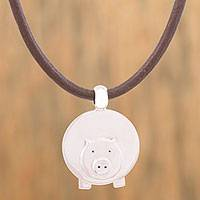 Silver pendant necklace, 'Jolly Pig' - Adjustable Silver Pig Pendant Necklace from Mexico
