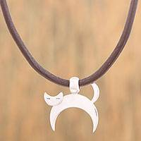 Silver pendant necklace, 'Crescent Cat' - Adjustable Silver Cat Pendant Necklace from Mexico