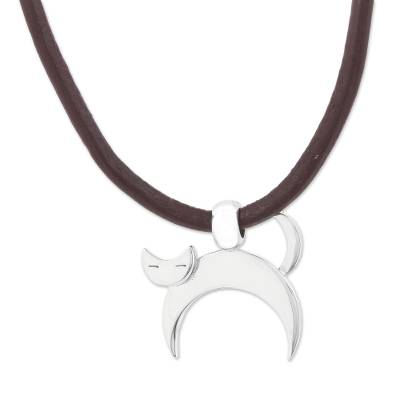 Adjustable Silver Cat Pendant Necklace from Mexico