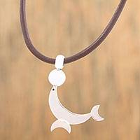 Silver pendant necklace, 'Crescent Seal' - Adjustable Silver Seal Pendant Necklace from Mexico