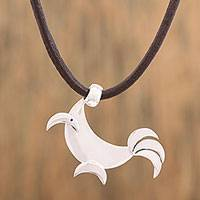 Silver pendant necklace, 'Crescent Rooster' - Adjustable Silver Rooster Pendant Necklace from Mexico