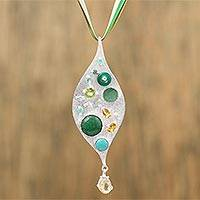 Multi-gemstone long pendant necklace, 'Glisten' - Multi-Gemstone and Sterling Silver Leaf Pendant Necklace