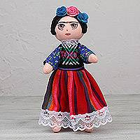 Decorative fabric doll, 'Fridita in Pink' - Decorative Fabric Doll Inspired by Frida Kahlo