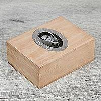 Wood decorative box, 'Frida's Secret' - Wood Decorative Box with Frida Kahlo Image on Hinged Lid