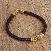 Gold plated leather pendant bracelet, 'Tradition of Life' - Gold Plated Leather Skull Pendant Bracelet from Mexico