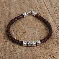 Rhodium plated leather beaded wristband bracelet, 'Simple Chic' - Rhodium Plated Leather Beaded Wristband Bracelet from Mexico