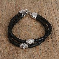 Rhodium plated brass and leather pendant bracelet, 'Celebrate Death in Black' - Rhodium Plated Skull Pendant Bracelet in Black from Mexico