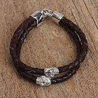 Rhodium plated leather pendant bracelet, 'Celebrate Death in Espresso' - Rhodium Plated Skull Bracelet in Espresso from Mexico