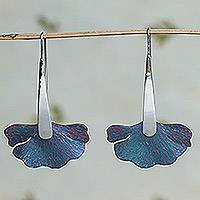 Titanium drop earrings, 'Betta Fins' - Titanium and Sterling Silver Drop Earrings from Mexico
