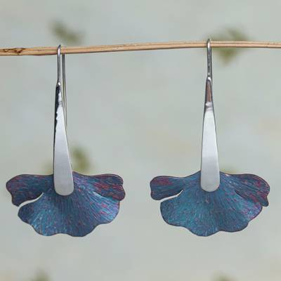 Titanium drop earrings, 'Blue Betta' - Titanium and Sterling Silver Drop Earrings from Mexico