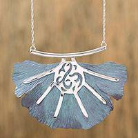 Titanium pendant necklace, 'Betta Fin' - Handcrafted Titanium Pendant Necklace from Mexico