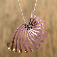 Titanium pendant necklace, 'Nautilus Spiral' - Handcrafted Titanium Pendant Necklace in Pink from Mexico