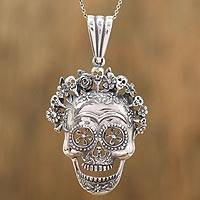 Sterling silver pendant necklace, 'Catrina Crown' - Sterling Silver Catrina Pendant Necklace from Mexico