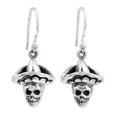 Sterling Silver Day of the Dead Dangle Earrings from Mexico