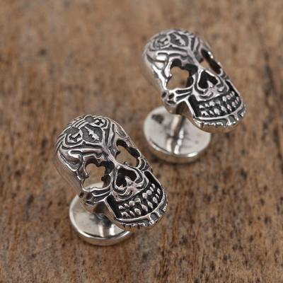 Sterling silver cufflinks, 'Calavera Style' - Sterling Silver Skull Cufflinks from Mexico