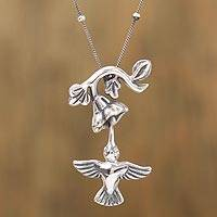 Sterling silver pendant necklace, 'Hummingbird and Flower' - Sterling Silver Hummingbird Pendant Necklace from Mexico