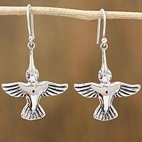 Sterling silver dangle earrings, 'Hummingbirds Aloft' - Sterling Silver Hummingbird Dangle Earrings from Mexico