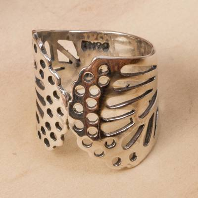 Sterling silver wrap ring, 'Gossamer Wings' - Butterfly Wing Sterling Silver Wrap Ring from Mexico
