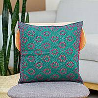 Cotton cushion cover, 'Geckos' - Teal, Red Gecko and Geometric Patterned Cotton Cushion Cover
