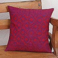 Cotton cushion cover, 'Detailed Diamonds' - Blue and Red Diamond Patterned Cotton Cushion Cover