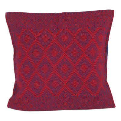 Blue and Red Diamond Patterned Cotton Cushion Cover