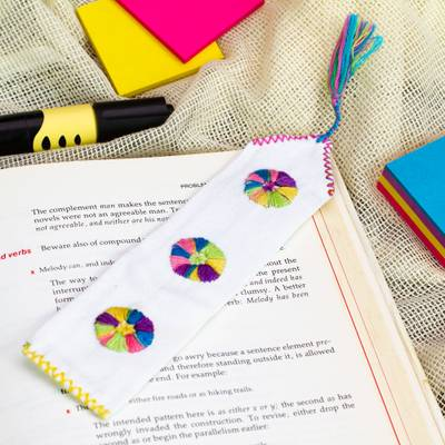 Cotton bookmarks, 'Page Turner' (pair) - White Hand Woven Cotton Bookmarks with Embroidery (Pair)