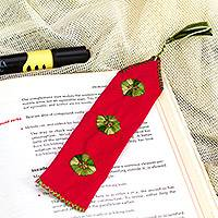 Cotton bookmark, 'Storyteller' - Red Hand Woven Cotton Bookmark with Embroidery