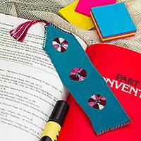 Cotton bookmark, 'Pause' - Green Hand Woven Cotton Bookmark with Embroidery