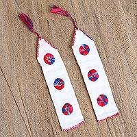 Cotton bookmarks, 'Reading Companion' (pair) - White Hand Woven Cotton Bookmarks with Embroidery (Pair)