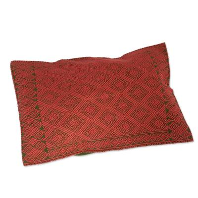 Green and Orange Diamond Patterned Cotton Cushion Cover