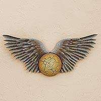 Steel wall sculpture, 'The Winged Sun' - Handcrafted Winged Steel Wall Sculpture from Mexico
